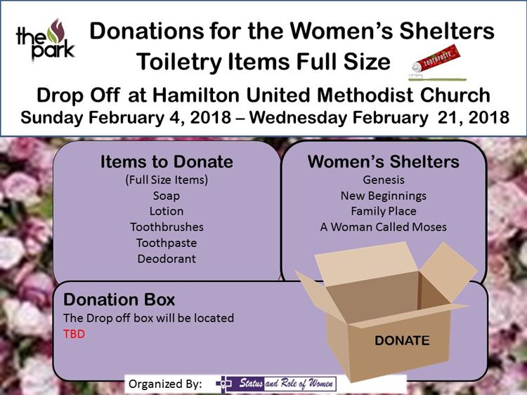full-sized toiletry donations for women's shelters
