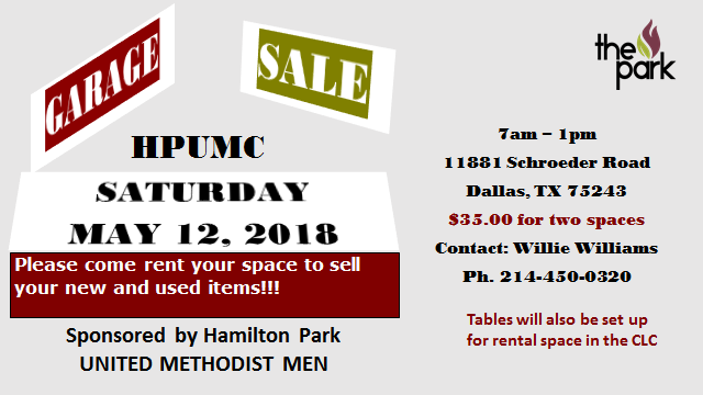 Garage Sale: May 12, 2018 » Hamilton Park UMC