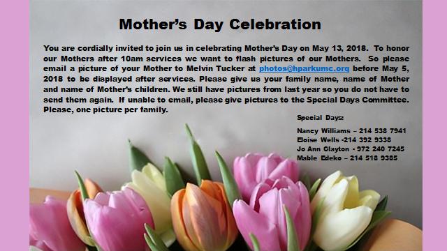 2018 Mother's Day Celebration